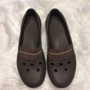 Crocs brown slip on with rubber size 10